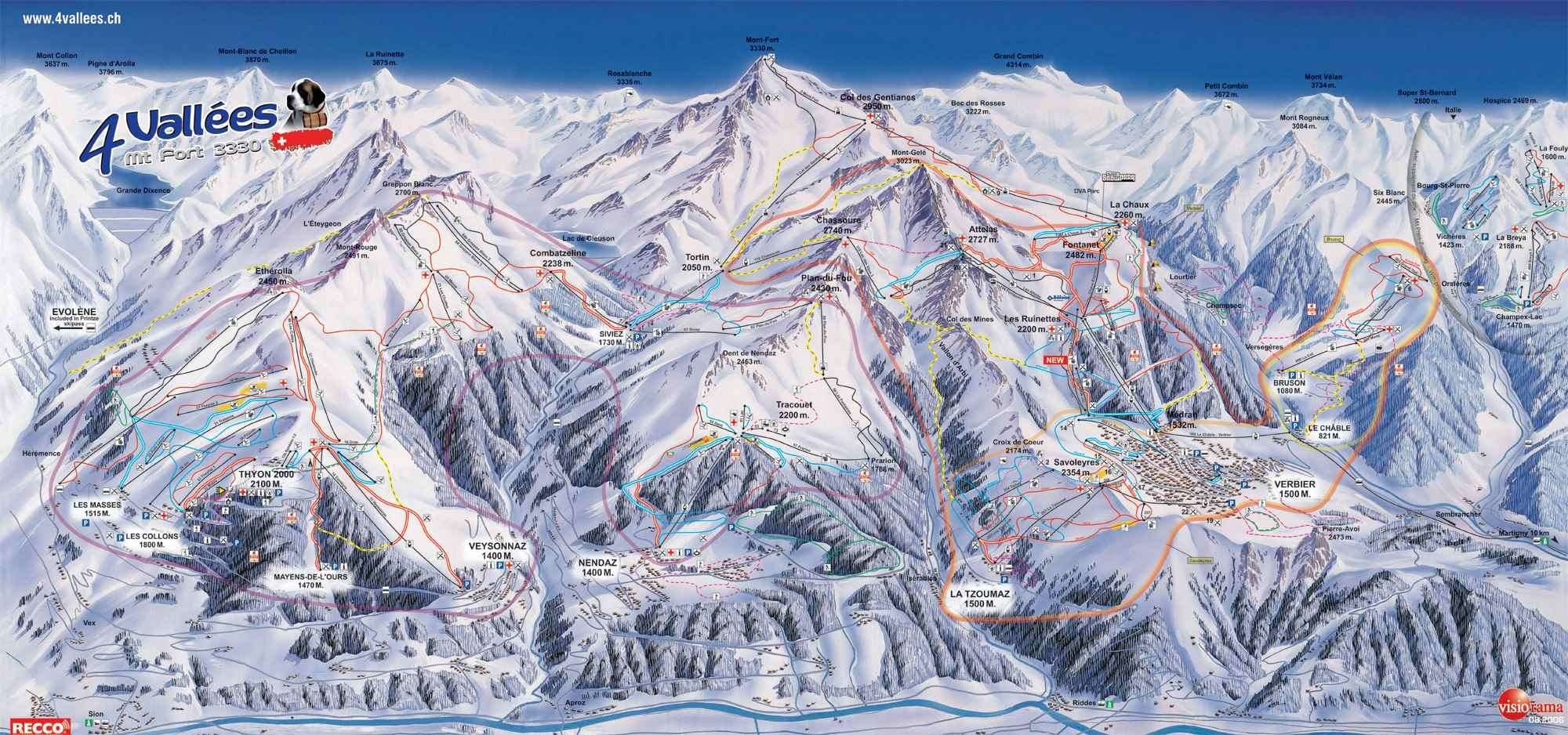 Verbier piste guide map showing runs according to their difficulty