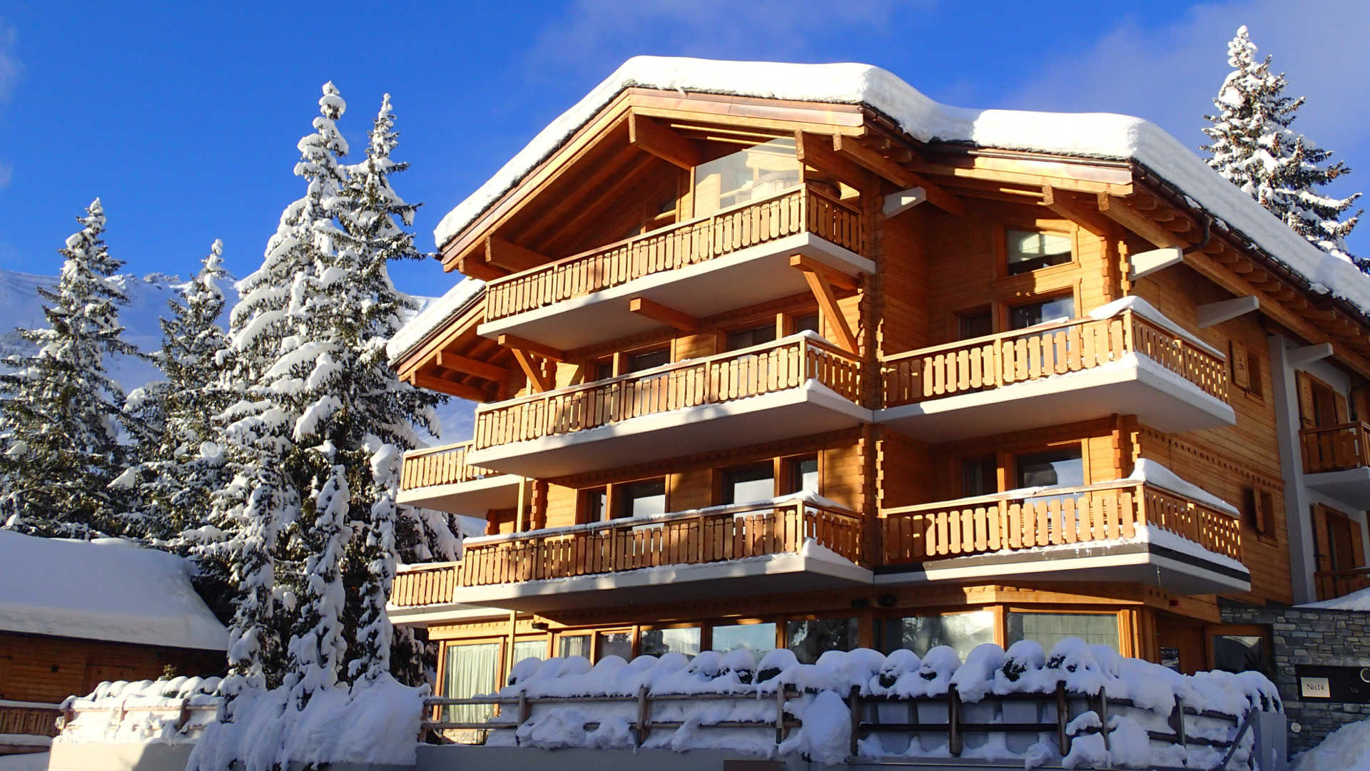 Outside view of Chalet Number 14- the largest chalet in Verbier