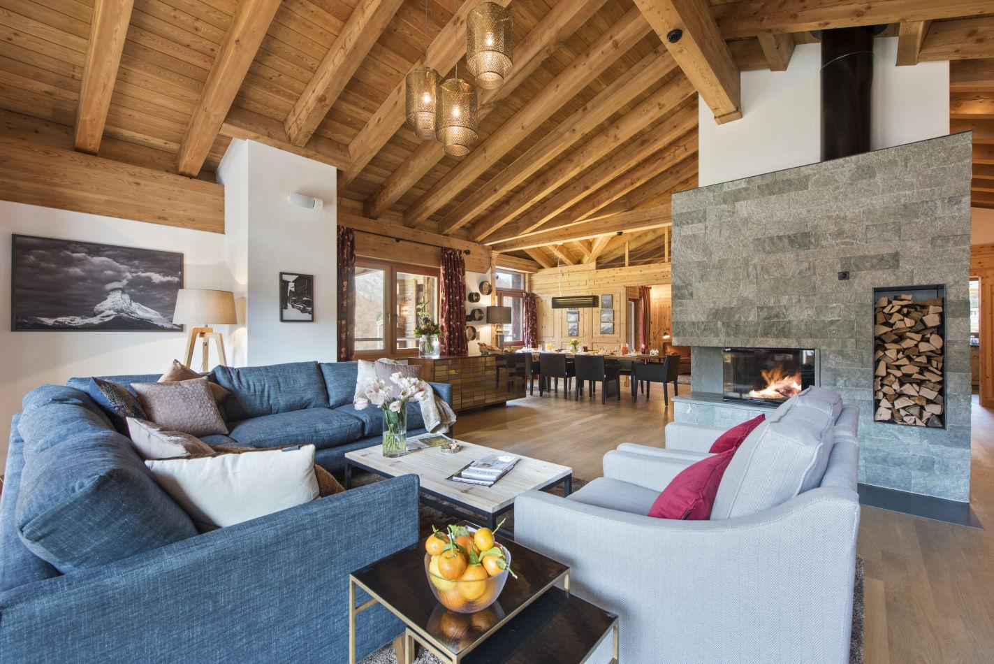 Living room view from Chalet Shalimar, in Zermatt,
