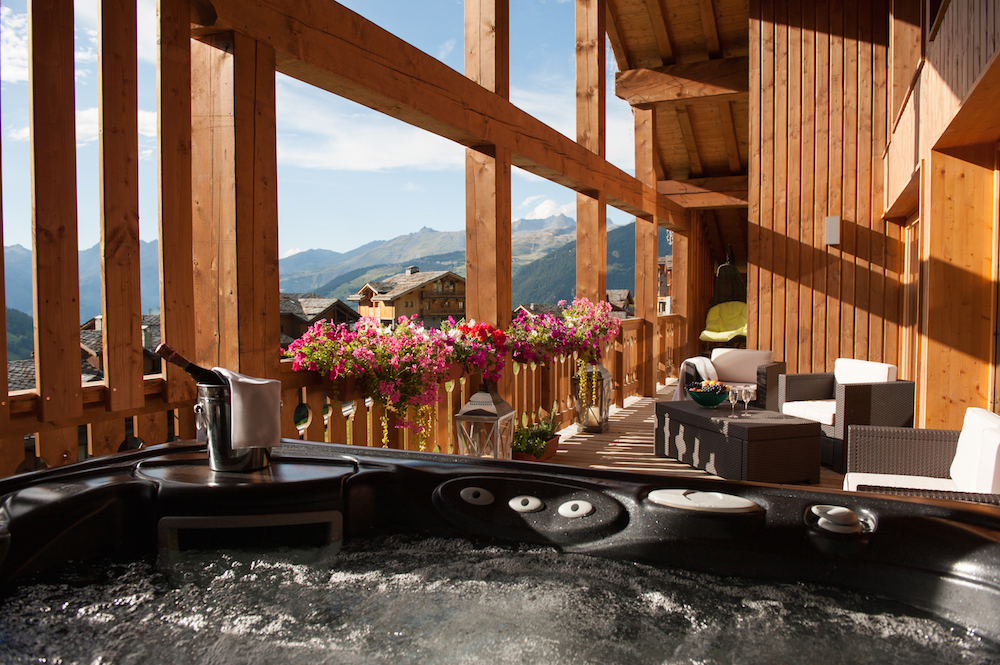 View from the hot tub on the balcony at The Peak, Sainte Foy, France